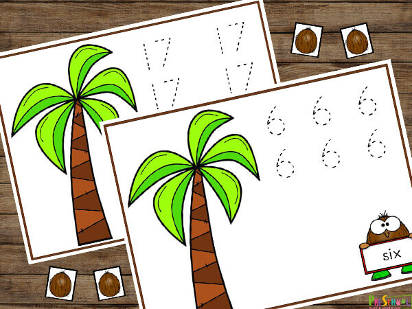Fun coconut themed counting mats for an island, pirate, treasure, or summer theme