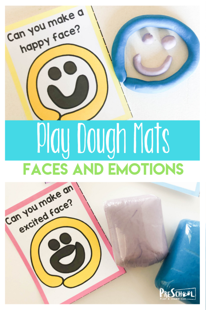 FREE Emotions for Preschoolers Playdough Mats - These super cute free printable playdough mats are a great way to learn about Emotions for Preschoolers. Just print, play, and learn. #emotions #playdoughmats #preschool