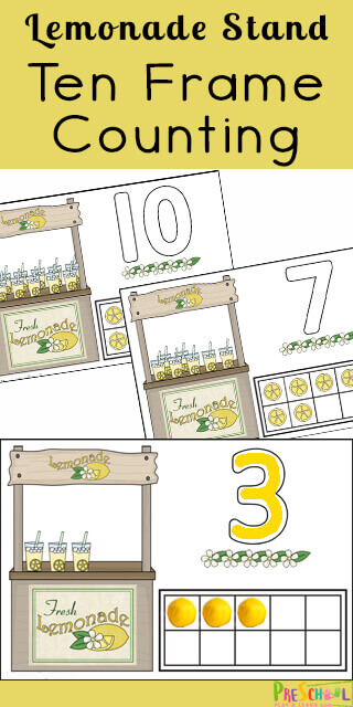 FREE Lemonade Stand Ten Frame Counting Mats - kids will have fun practicing counting to 10 with these these free printable summer playdough mats for for toddler, preschool, prek, and kindergarten age kids #preschool #playdoughmats #counting