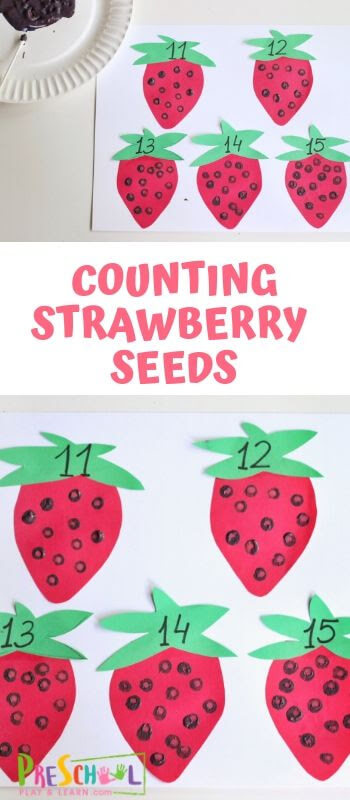 FREE Counting Strawberry Seeds Activity - this is such a fun preschool math activity for spring or summer! #counting #preschool #math