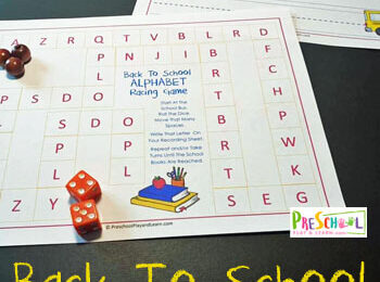 FREE Back to School Alphabet Racing Game - this is such a fun way for preschool and kindergarten age kids to practice their abcs on the first day of school #alphabet #backtoschol #preschool