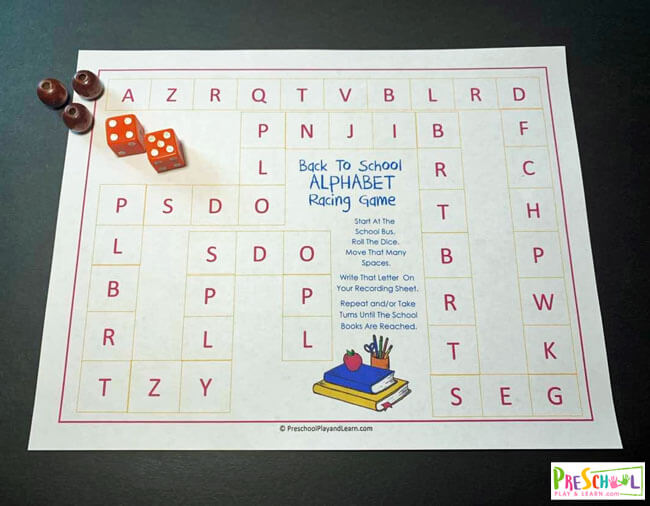 Back to School game for teaching preschoolers their letters