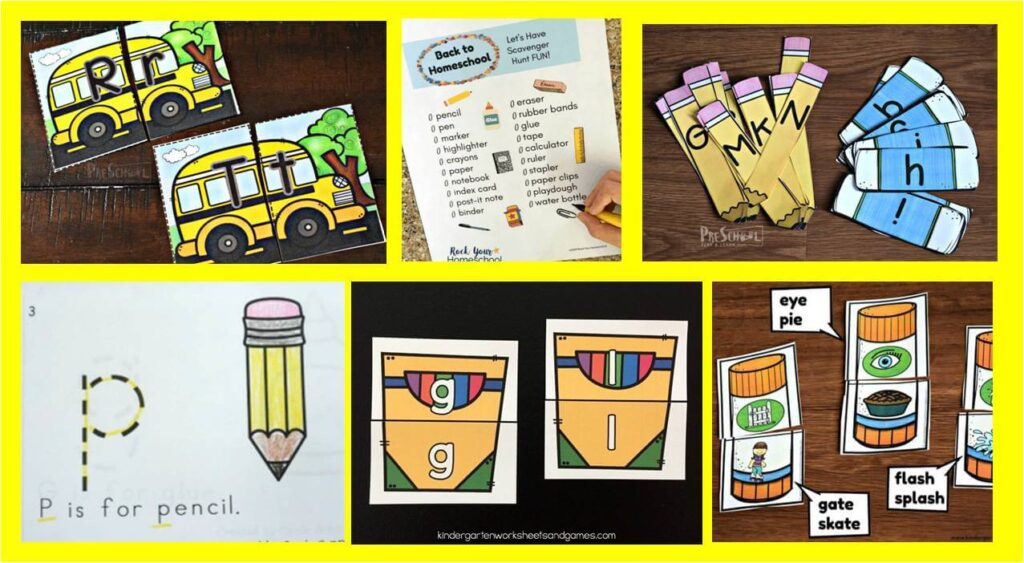 creative ideas for kids to learn alphabet and literacy skills with a back to school theme