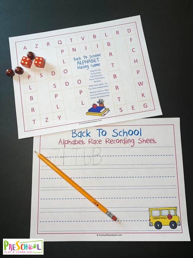 free back to school printable to help preschoolers learn letters from a to z