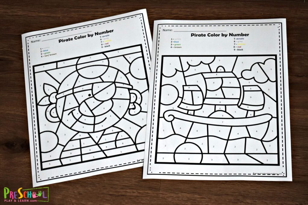 FREE Pirate Color By Number Worksheets