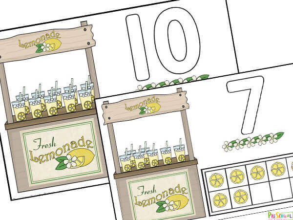 summer counting mat to help preschoolers and kindergartners practice counting to 10