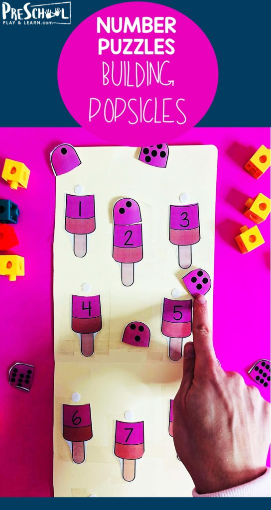 Kids will want to practicing math this summer with these adorable Popsicle Counting Puzzle Match activity for Prek / Kindergarten. #counting #preschool #prek