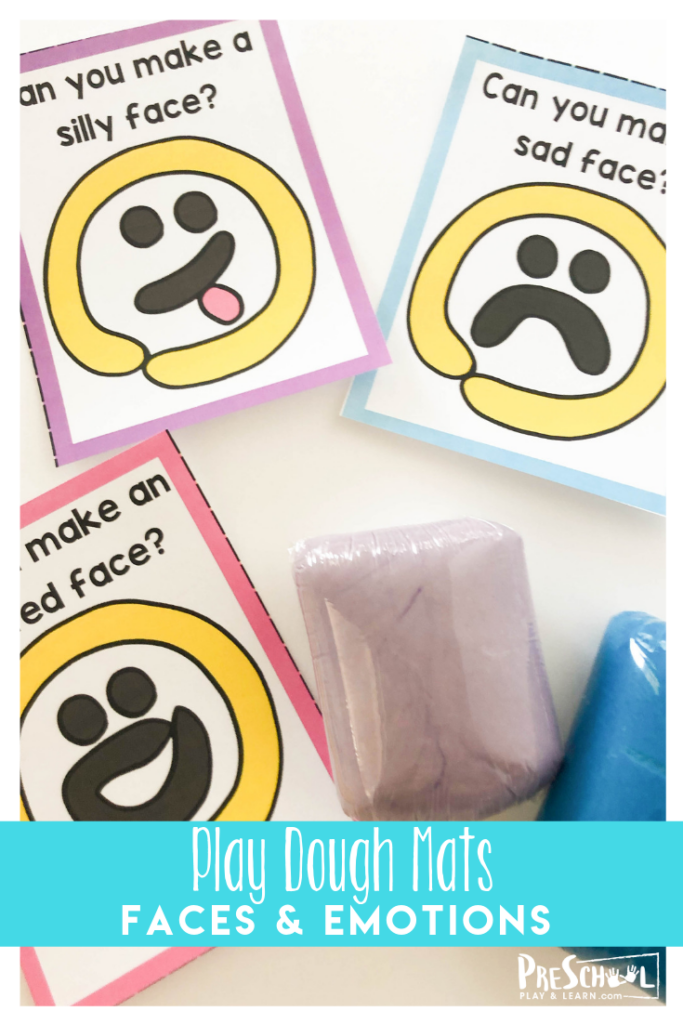 Teach kids about emotions with playdough with these free faces play doh mats for toddler, preschool, prek, and kindergarten age kids.