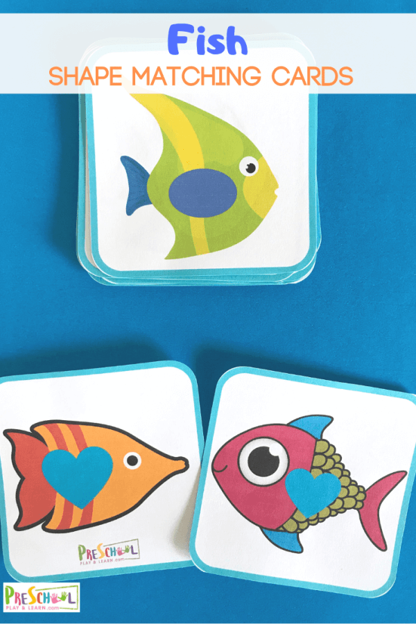FREE Fish Shape Matching Cards - this is such a fun math game for preschool, prek, and kindergarten age kids to work on shapes. Perfect for a fish or ocean theme #shapes #preschool #prek