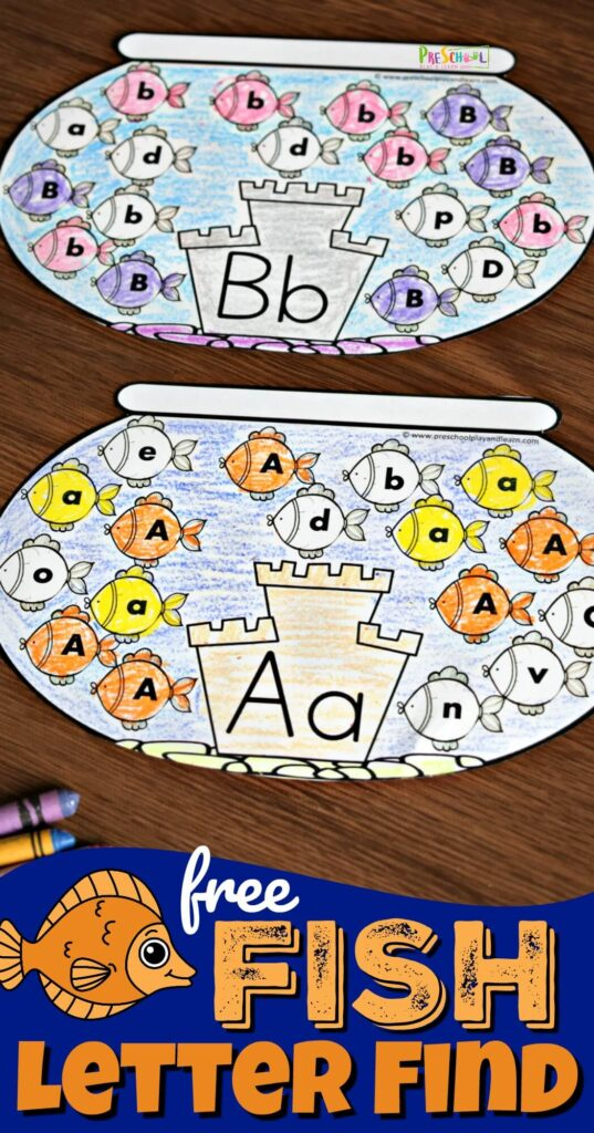 FREE Fish Letter Find - super cute, free printable , interactive alphabet worksheet for preschool and kindergarten age kids to help them work on letter recognition by identifying upper and lowercase letter fishes #preschool #alphabet #kindergarten