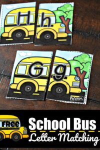 FREE School Bus Letter Matching - kids will have fun practicing uppercase and lowercase letters with this back to school themed alphabet puzzles for preschool, prek, and kindergarten age kids #preschool #backtoschool #alphabet