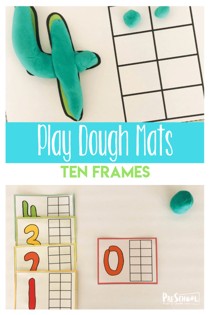 Have fun working on early math skill with this free playdough number mats to use with Play doh. This ten frame template allows toddler, preschool, pre-k, and kindergarten age students practice counting to ten on a 10 frame. This interactive ten frame is a great visual for early math while strengthening had muscles making the numeral and play dough balls. Simply print playdough number mats 1-10 pdf and you are ready to play and learn withmath activities for preschoolers.
