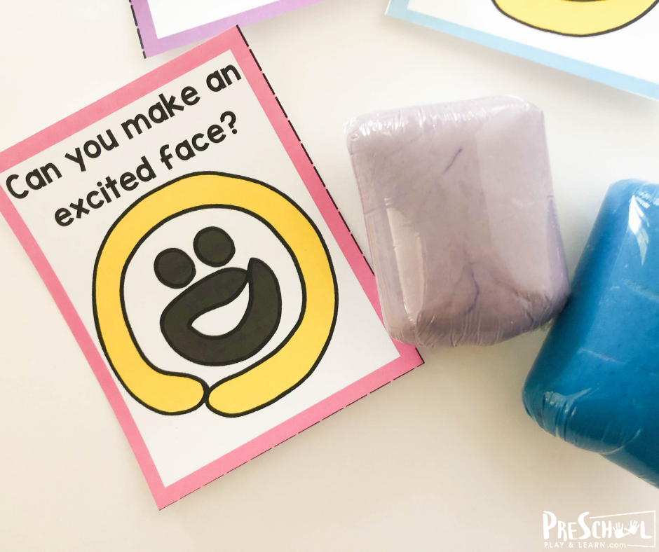 free printable play dough mats to teach kids about emotions like being excited