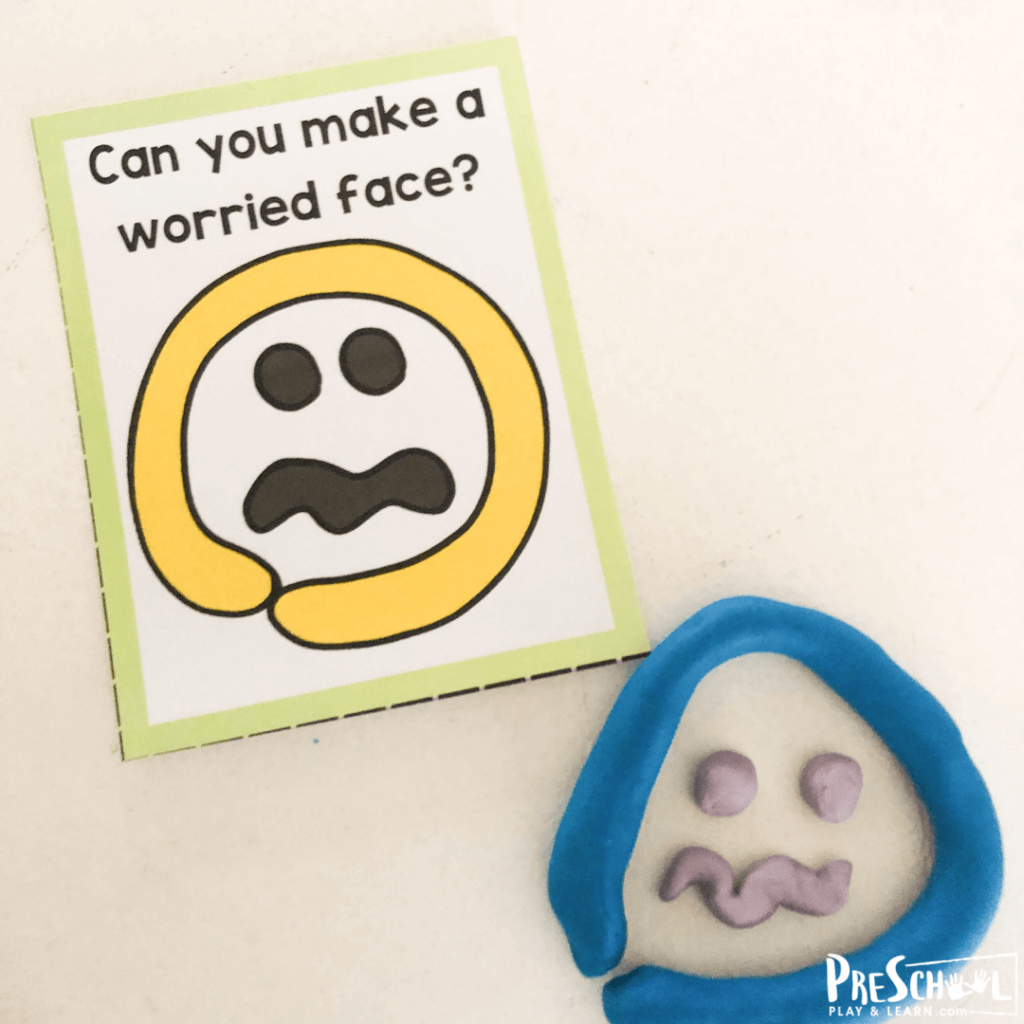 super cute playdoh mat to help teach kids about emotions like being worried