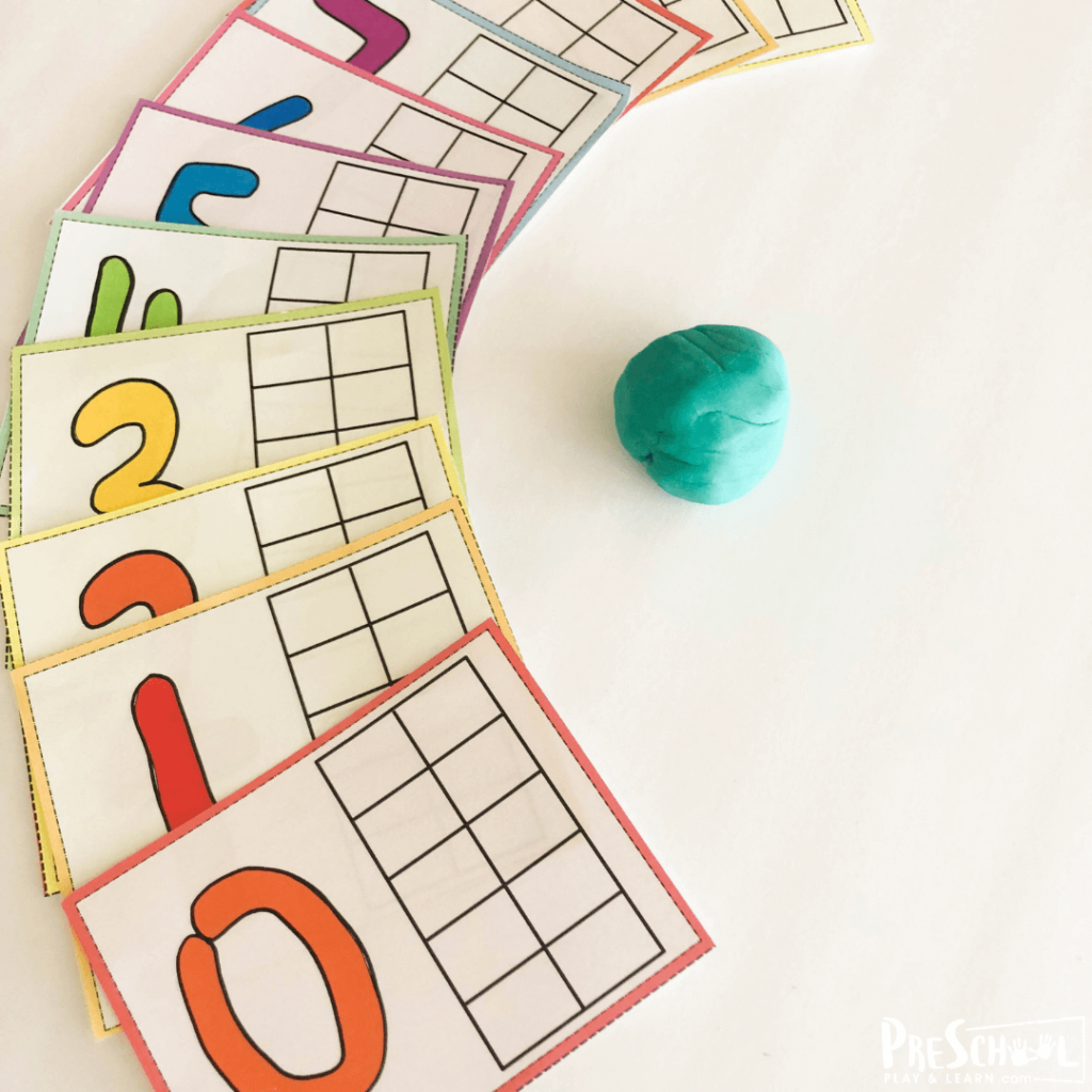 These preschool playdough mats are great visual for numbers 1-10 using a ten frame