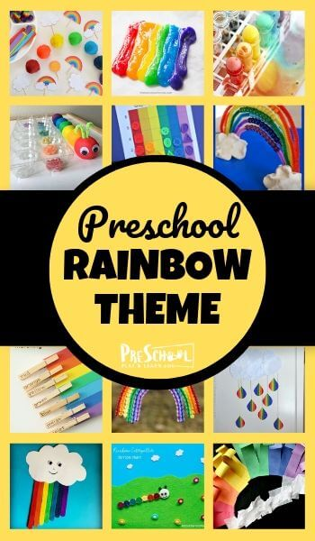 Kids will have fun learning about rainbows with this fun Rainbow Preschool Theme! Tons of great books, rainbow crafts, math, activities, and more to include in your lesson plan about colors for preschool. #preschool #prek #rainbows