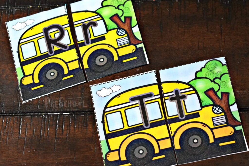 This free printable school bus ABC games is a fun way for early learners to practice alphabet letters