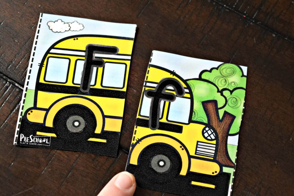 Help kids practice matching uppercase and lowercase letters with these fun school bus puzzles