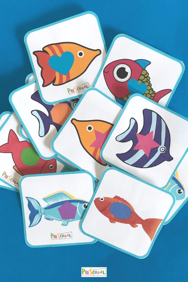 printable shape matching game for preschool, prek, and kindergarten