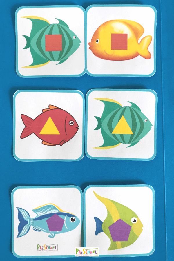 free fish themed shape sorting game for preschoolers and kindergartners