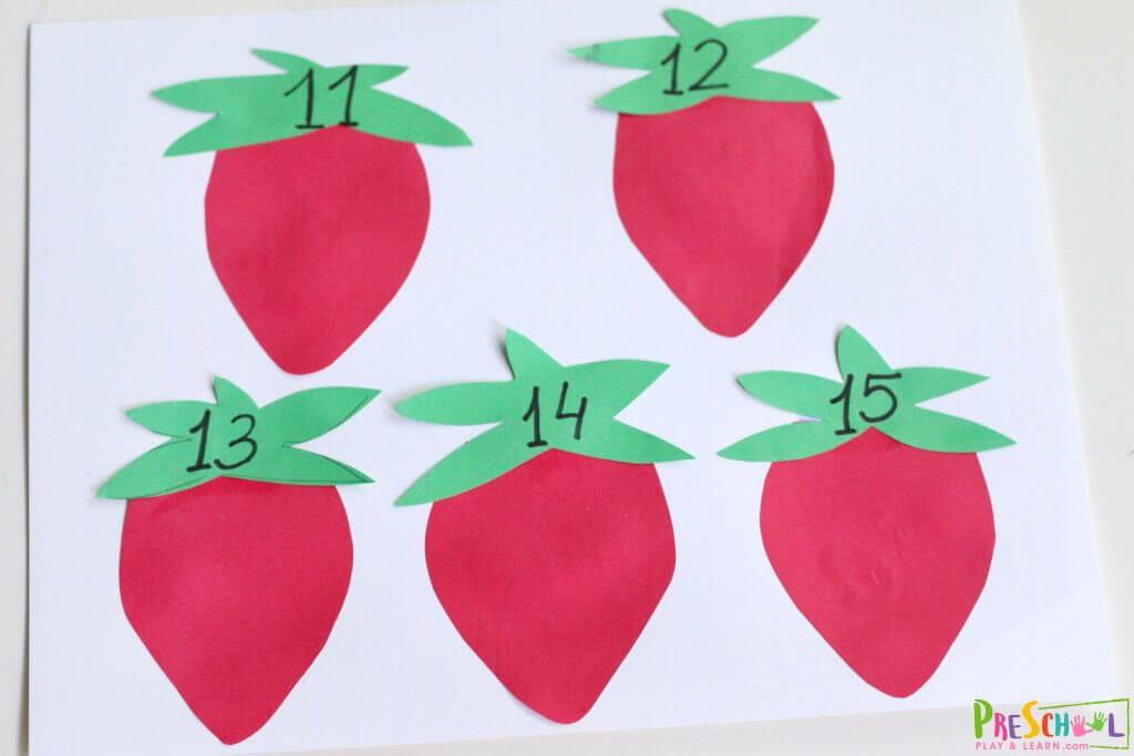 Strawberry Count to 20 preschool math activity