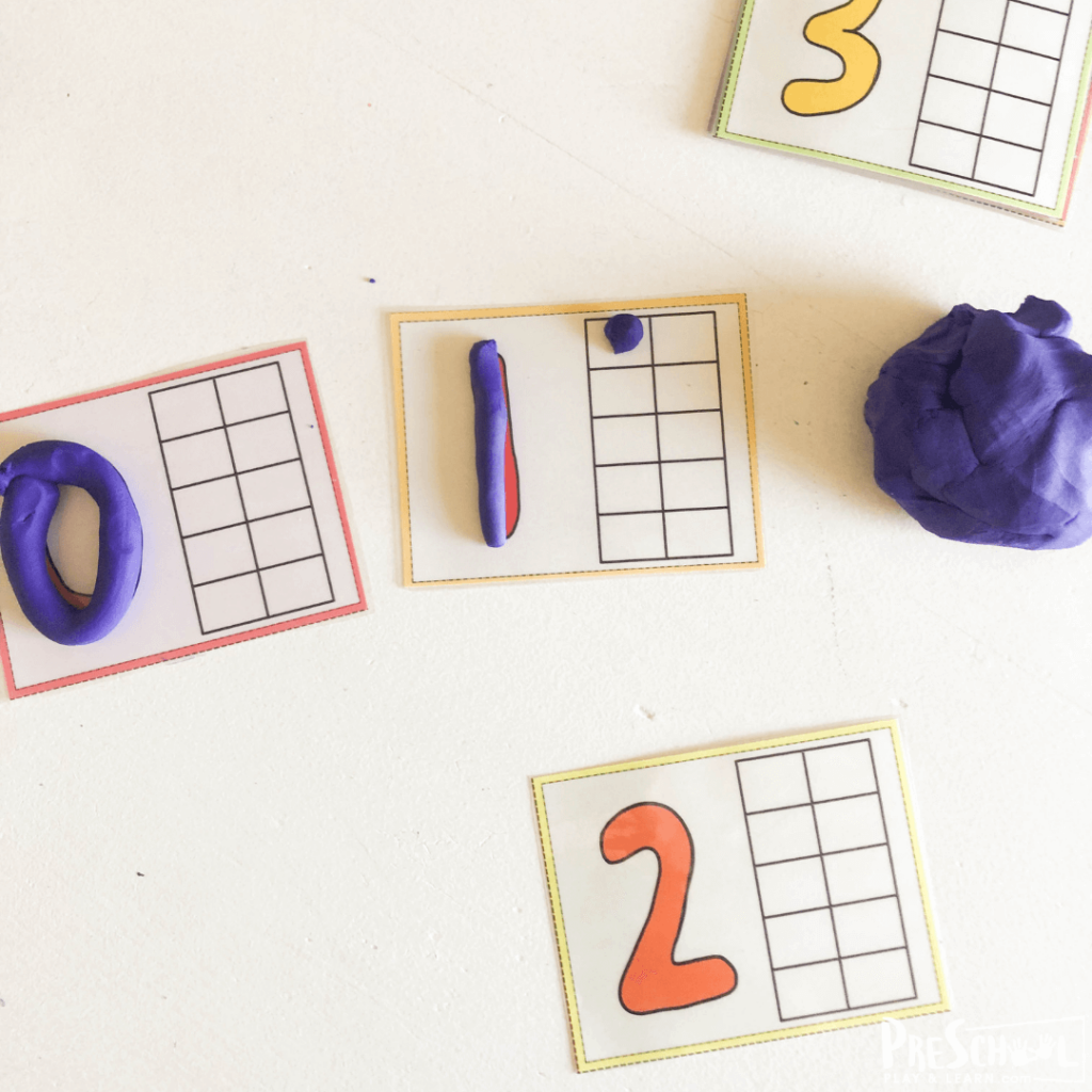 These interactive ten frame cards use playdough to make math fun for preschoolers and kindergartners