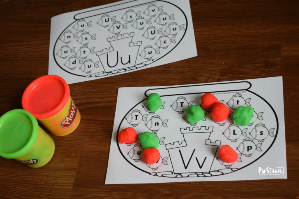 Upper and Lowercase Letters activity using crayons, markers, bingo markers, or playdough.