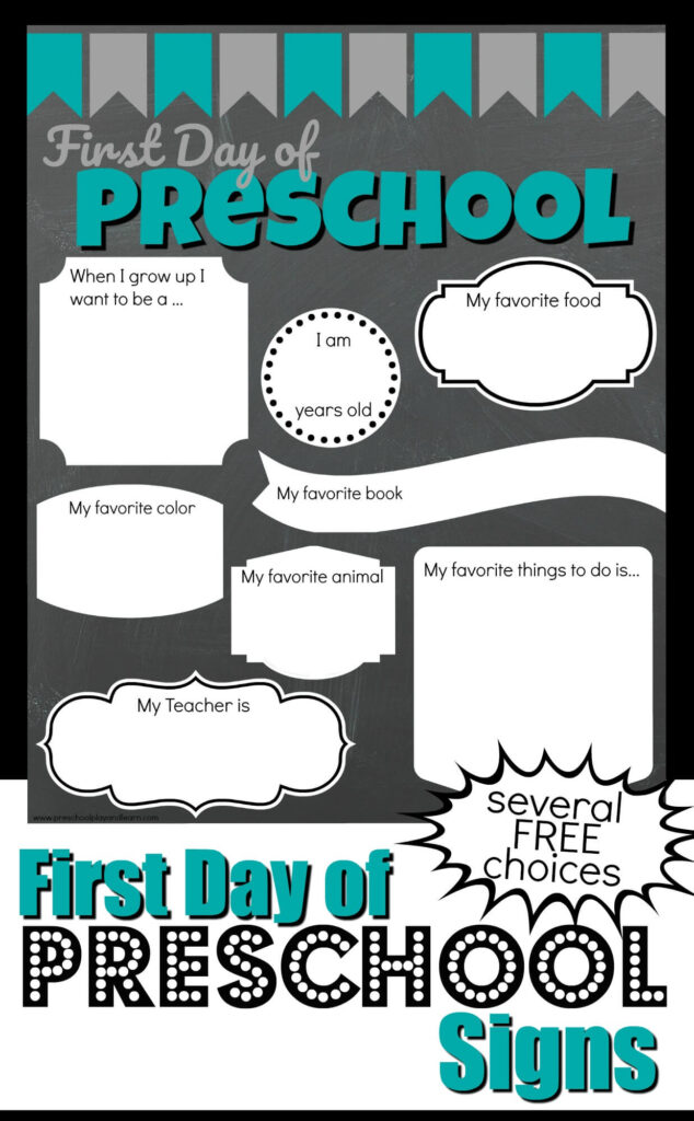 FREE 1st Day of Preschool Signs - several choices to celebrate first day of school with a fun all about me preschool #firstdayofschool #preschool #preschoolers