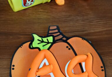 FREE Pumpkin Alphabet Playdough Mats for preschoolers and kindergartners to practice making letters with a fun fall theme