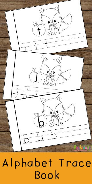 FREE Fall Themed Alphabet Trace Book - super cute free printable to allow preschool, prek, and kindergarten age kids to practice tracing letters with a fun fall themed activity #alphabet #preschool #fall