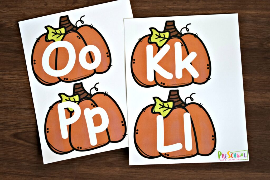 Practice alphabet tracing with these fall themed pumpkin alphabet mats for toddler, preschool, prek, and kindergarten age kids
