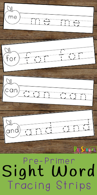 Kids need lots of practice to learn key sight words that make up most of the books they will be reading. These free apple themed preschool sight words printable are a fun, low prep activity that is perfect for helping preschool, pre k, and kindergarten age children practice pre-primer dolch sight words.