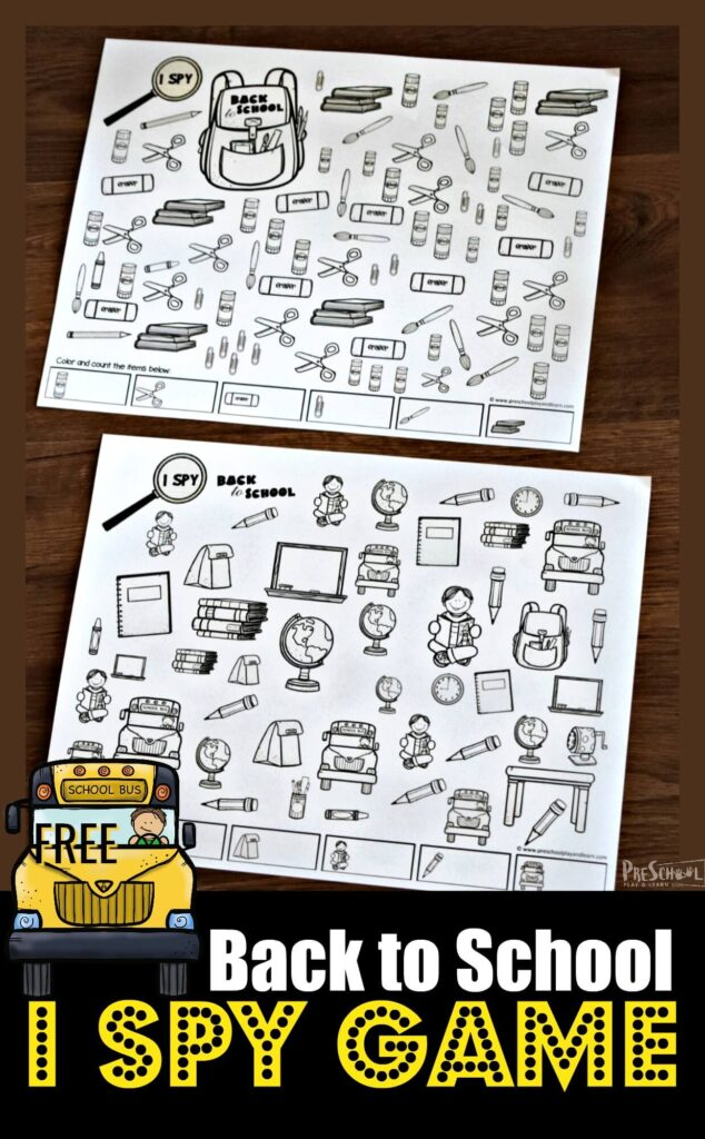 FREE Back to School I Spy Game for working on counting and visual discrimination with preschool, prek, and preschoolers