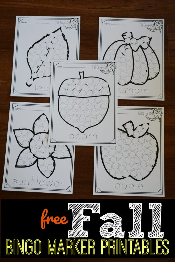 FREE Bingo Marker Printables for fall - super cute, no prep activity for toddler, preschool, prek, and kindergarten age kids to strengthen fine motor skills while making craft for kids #fall #craftsforkids #preschool