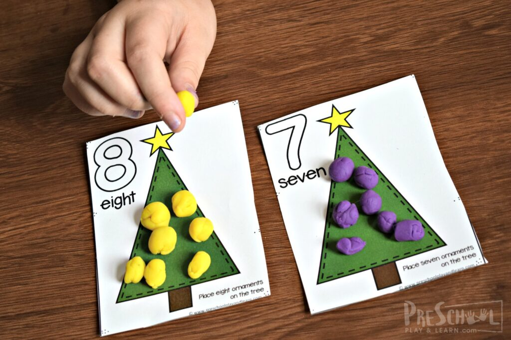 Make practicing math fun with this Christmas activity for preschoolers
