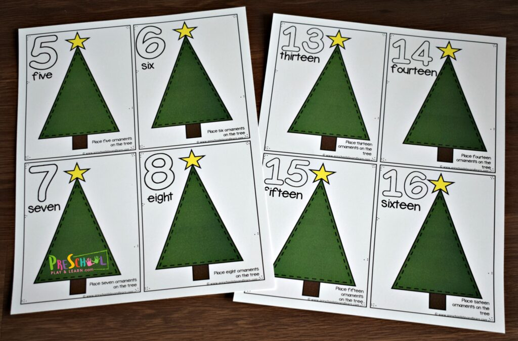 Super cute free printable christmas tree counting mats for toddler, preschool, prek, and kindergarten age kids