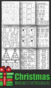 FREE Christmas Worksheets for Preschoolers - so many super cute and clever no prep activities for preschool kids to practice math and literacy #Christmas #preschool #worksheets