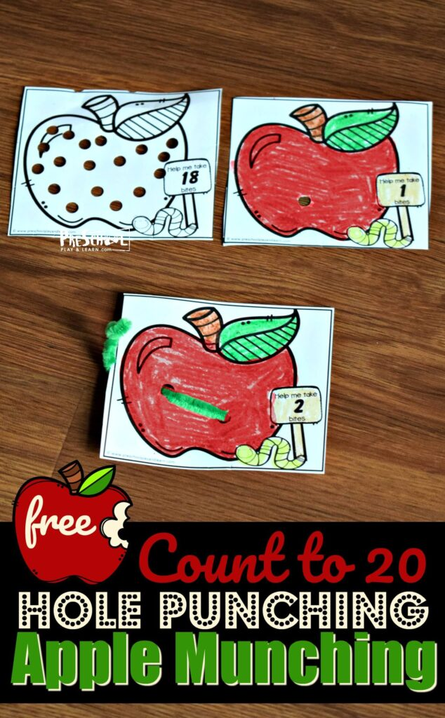FREE Count to 20 Hole Punching Apple Munching - such a fun, hands on math activity for preschool, prek, and kindergarten age kids to practice counting with a fun September / fall theme #counting #preschool #kindergarten