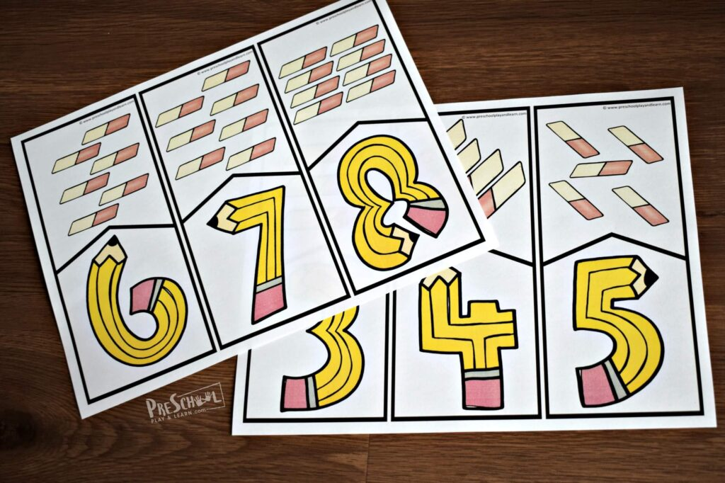 Back to School pencil and eraser counting puzzles for preschoolers and kindergartners