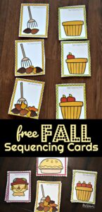 FREE Fall Sequencing Cars - this is such a fun Fall Activity for preschoolers and kindergartners to work on an early math skill while having fun! #fall #preschool #math