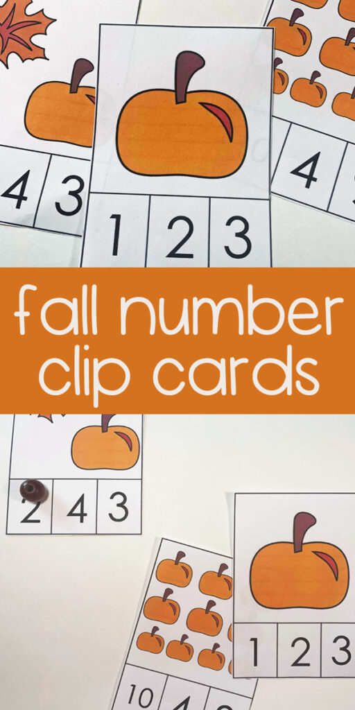 Kids will be able to practice how to count to 10 with these super cute, free printable,  fall themed Pumpkin clip cards. Toddler, preschool,  and pre k students will practice counting pumpkins with this number clip cards math activity for fall.