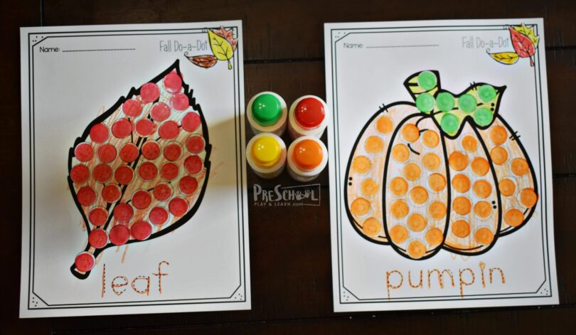 FREE Fall Do a Dot Worksheets are a fun free printable for preschool and kindergarten age kids