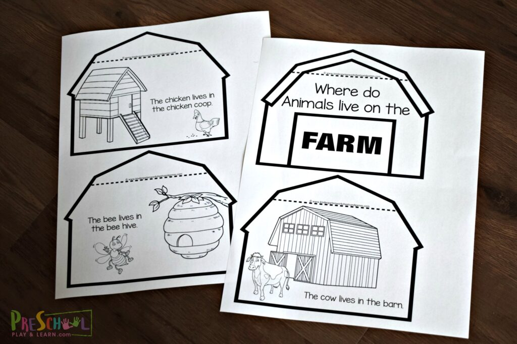 FREE Printable Farm Animals And Their Homes Minibook For Kids
