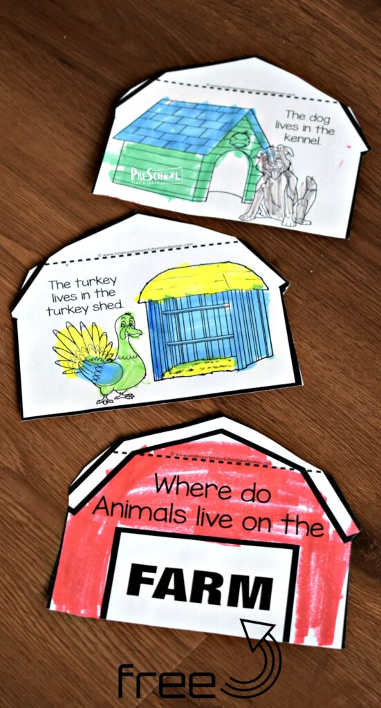 FREE Farm Animals and Their Homes Flipbook - this is such a fun free printable for prek, kindergarten, and first grade students to learn about animal homes. #farm #prek #science