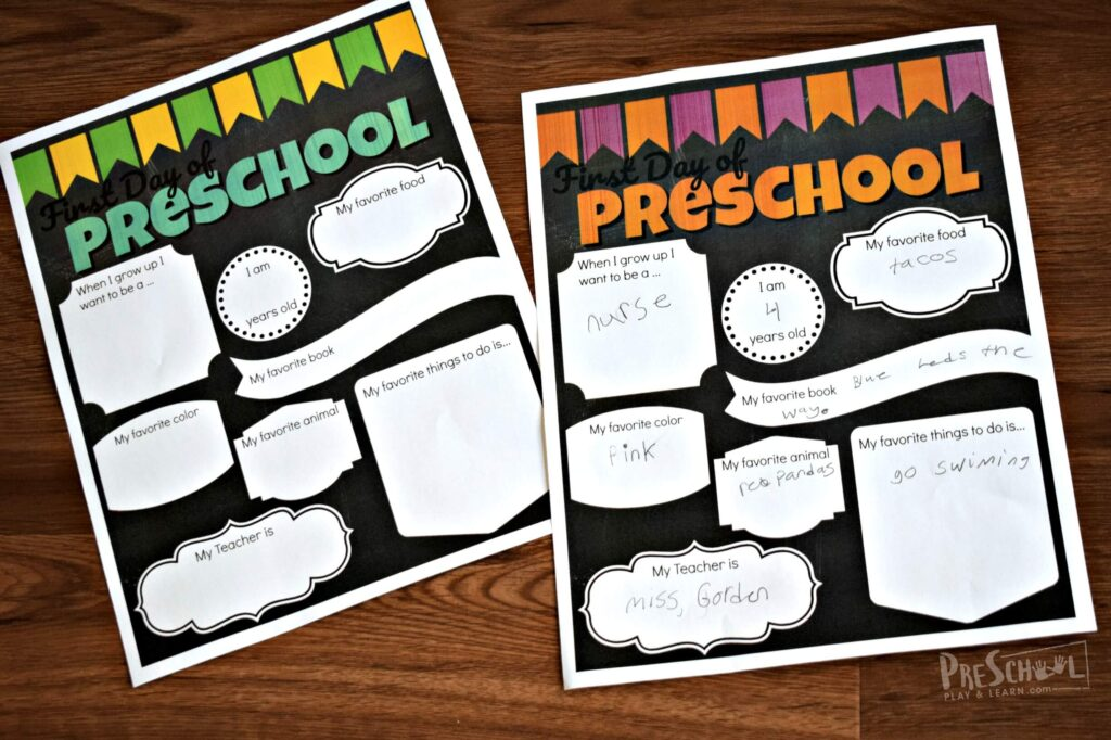image relating to First Day of Preschool Free Printable named Absolutely free 1st Working day of Preschool Signs or symptoms Preschool Participate in and Understand