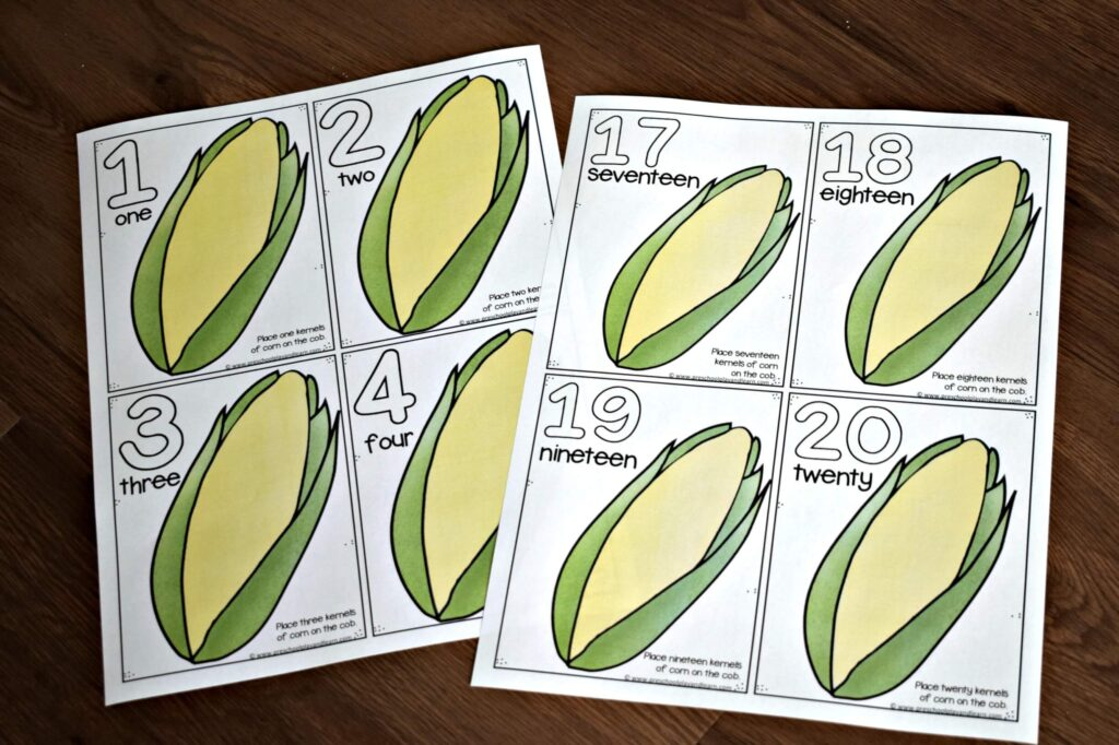 Free fall printables to practice counting to 20 with playdough