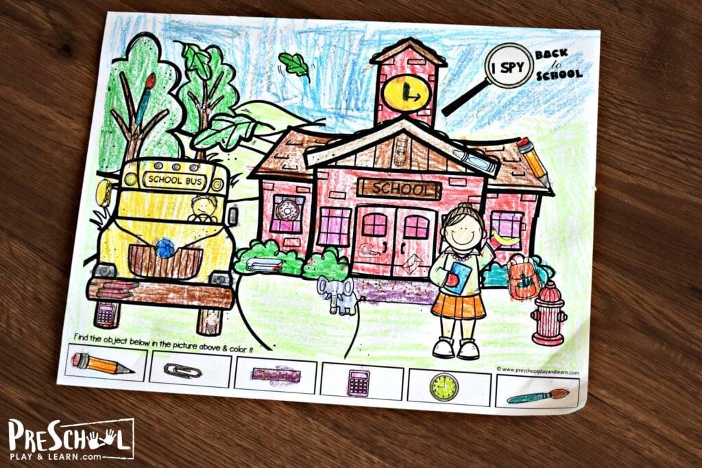 I Spy Preschool Game to look for the hidden pictures with preschoolers and kindergartners