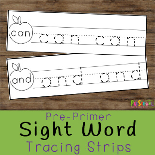 pre primer sight word tracing strips for an easy ativity