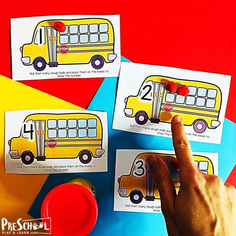 School Bus Activity for preschoolers, prek, and kindergartners