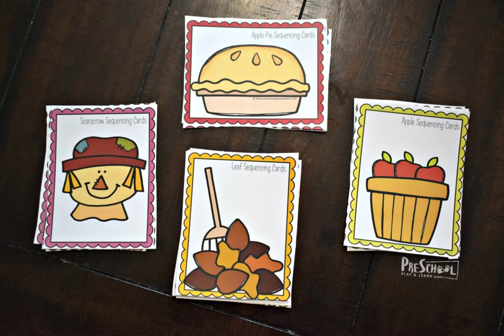 Super cute, free printable fall sequencing cards for preschool, prek and kindergarten math